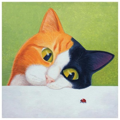 Cat with Ladybird - Greeting Card
