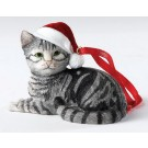 Silver Tabby Lying - Christmas Hanging Ornament by Country Artists - Enesco Ltd