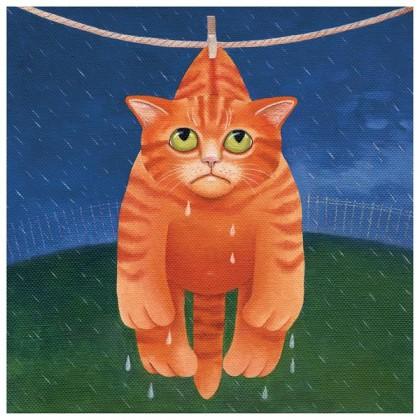 Drying in the Rain - Greeting Card
