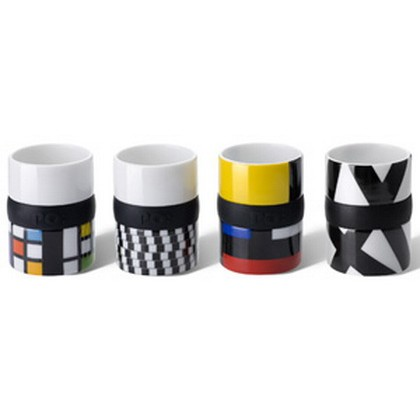 Set of 4 Expresso Design Ring Cups