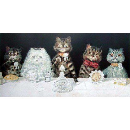 The Wedding Breakfast by Louis Wain