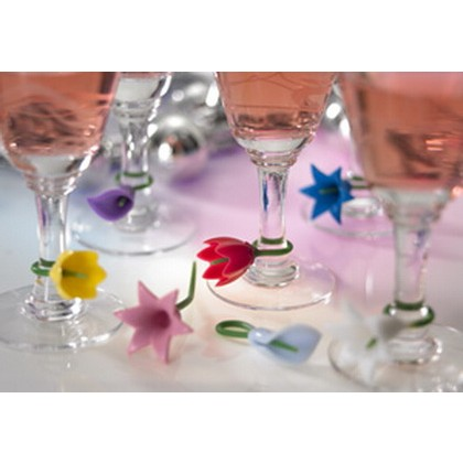 A Set of 12 Floral Wine Charms