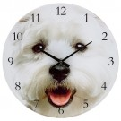 Visage Glass Clock – Westie – 30cm Diameter